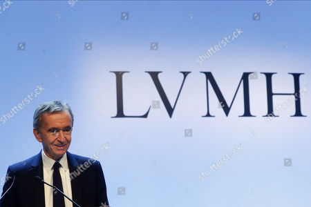 Stock Image of CEO of LVMH Bernard Arnault presents the group's 2019 results during a press conference, in Paris