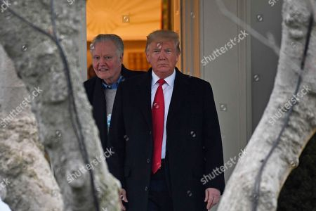 Donald Trump, Jon Voight. President Donald Trump, right, and actor Jon Voight, left, walk out of the Oval Office of the White House in Washington, as Trump prepares to board Marine One on the South Lawn for the short trip to Andrews Air Force Base, Md., en route to a campaign event in Wildwood, N.J