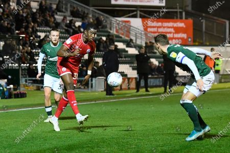 Bez Lubala (30) of Crawley Town on the attack during the EFL Sky Bet League 2 match between Plymouth Argyle and Crawley Town at Home Park, Plymouth