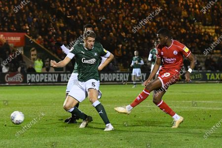 Bez Lubala (30) of Crawley Town shoots at goal during the EFL Sky Bet League 2 match between Plymouth Argyle and Crawley Town at Home Park, Plymouth