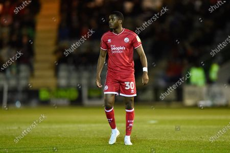 Bez Lubala (30) of Crawley Town during the EFL Sky Bet League 2 match between Plymouth Argyle and Crawley Town at Home Park, Plymouth