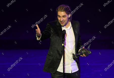 German violinist David Garrett accepts his award during the B.Z. Culture Award ceremony in Berlin, Germany, 28 January 2020. Since 1991, the Berlin tabloid newspaper B.Z. awards this annual prize to personalities that contributed to the cultural and artistic diversity in the German capital.