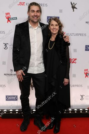 German violinist David Garrett (L) and his mother Dove (R) arrive for the B.Z. Culture Award ceremony in Berlin, Germany, 28 January 2020. Since 1991, the Berlin tabloid newspaper B.Z. awards this annual prize to personalities that contributed to the cultural and artistic diversity in the German capital.