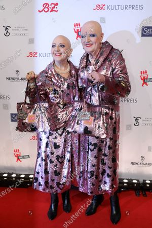 German artist duo Eva and Adele arrive for the B.Z. Culture Award ceremony in Berlin, Germany, 28 January 2020. Since 1991, the Berlin tabloid newspaper B.Z. awards this annual prize to personalities that contributed to the cultural and artistic diversity in the German capital.