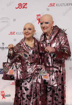 Stock Image of German artist duo Eva and Adele arrive for the B.Z. Culture Award ceremony in Berlin, Germany, 28 January 2020. Since 1991, the Berlin tabloid newspaper B.Z. awards this annual prize to personalities that contributed to the cultural and artistic diversity in the German capital.