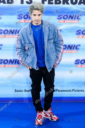 Stock Picture of German web video producer Julien Bam poses on the blue carpet of the 'Sonic the Hedgehog' fan screening in Berlin, Germany, 28 January 2020. The movie screens in German cinemas from 13 February 2020.
