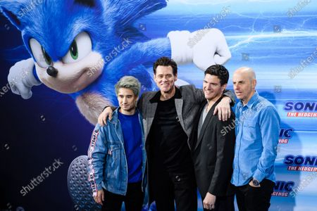 German web video producer Julien Bam, US actor Jim Carrey, US director Jeff Fowler and US producer Neal Moritz pose on the blue carpet of the 'Sonic the Hedgehog' fan screening in Berlin, Germany, 28 January 2020. The movie screens in German cinemas from 13 February 2020.