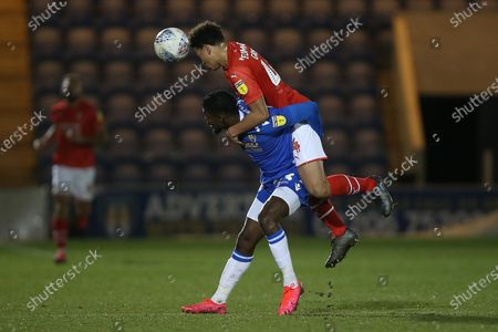 Theo Robinson of Colchester United and Rarmani Edmonds-Green of Swindon Town during Colchester United vs Swindon Town, Sky Bet EFL League 2 Football at the JobServe Community Stadium on 28th January 2020