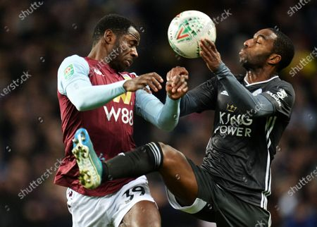 Keinan Davis (L) of Aston Villa in action against Ricardo Pereira of Leicester during the Carabao Cup semi final second leg match between Aston Villa and Leicester City in Birmingham, Britain, 28 January 2020.