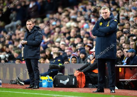 Leicester City manager Brendan Rogers (L) and his Aston Villa counterpart Dean Smith during the Carabao Cup semi final second leg match between Aston Villa and Leicester City in Birmingham, Britain, 28 January 2020.