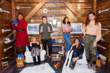 Stock Photo of Jazzmun Crayton, Zackary Drucker, Leo Shen, Rain Valdez, Jen Richards, Trace Lysette. Jazzmun Crayton, left, Zackary Drucker, Leo Shen, Rain Valdez, Jen Richards and Trace Lysette pose for a photo at the Los Angeles Times Studio at Sundance Film Festival presented by Chase Sapphire, in Park City, Utah