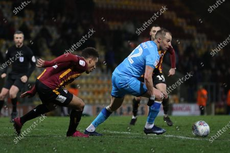 Adam Henley and Luke Varney  during the EFL Sky Bet League 2 match between Bradford City and Cheltenham Town at the Utilita Energy Stadium, Bradford