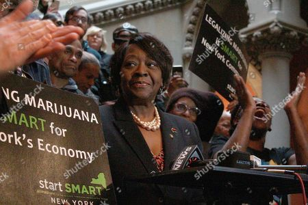 Stock Picture of Assembly member Crystal Peoples-Stokes, a Democrat who represents Buffalo, speaks at a rally for marijuana legalization at the New York State Capitol in Albany on . New York could have one of the most lenient marijuana possession thresholds in the nation if an alternative legalization proposal is passed this session