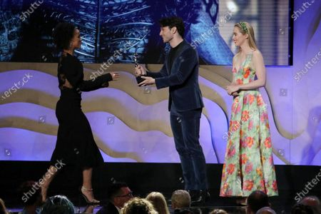 """Nathalie Emmanuel accepting on behalf of Michele Clapton - Excellence in Sci-Fi/Fantasy Television - 'Game of Thrones: """"The Iron Throne""""' - Presented by James Scully and Kathryn Newton"""
