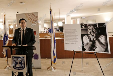 Danny Danon, Israel's Permanent Representative to the United Nations speaks at a reception for the Lonka Project, at United Nations headquarters in New York, New York, USA, 28 January 2020. The Lonka Project is a photographic tribute to the last living Holocaust survivors. In 2019 some 250 of the world's leading professional photographers, in some 24 countries contributed images for the project.