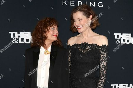 "Susan Sarandon, Geena Davis. Susan Sarandon, left, and Geena Davis attend Kering's Women in Motion program special screening of ""Thelma & Louise"" at the Museum of Modern Art, in New York"