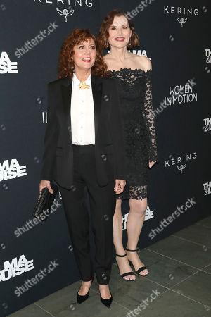 "Susan Sarandon, Geena Davis. Susan Sarandon, left, and Geena Davis attend Kering's Women in Motion program special screening of ""Thelma & Louise"" at the Museum of Modern Art, in New York"