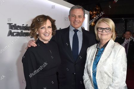 Anne Sweeney, Robert Iger, Geraldine B. Laybourne. Anne Sweeney, from left, Robert Iger, Chief Executive Officer of Disney, and Geraldine B. Laybourne attend the 25th Television Academy Hall of Fame on at the Television Academy's Saban Media Center in North Hollywood, Calif