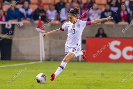 United States Women's Olympic Soccer forward Carli Lloyd (10) send the ball in the game against Haiti of the CONCACAF Olympic Womenâ€s Qualifying match at BBVA Stadium in Houston, Texas. ©Maria Lysaker/CSM