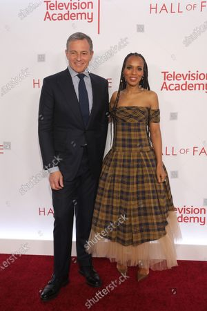 US chairman and CEO of The Walt Disney Company, Robert A. Iger (L) poses on the red carpet with US actress Kerry Washington (R) prior to the Television Academy Hall of Fame induction ceremony, in Los Angeles, California, USA, 28 January 2020.