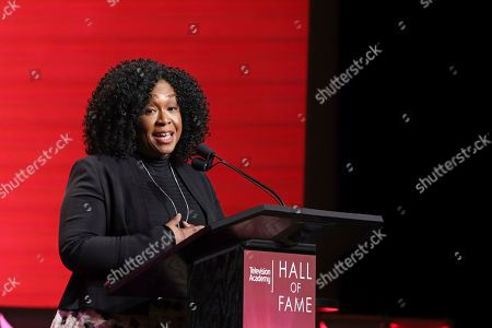 Shonda Rhimes speaks at the 25th Television Academy Hall of Fame on at the Television Academy's Saban Media Center in North Hollywood, Calif