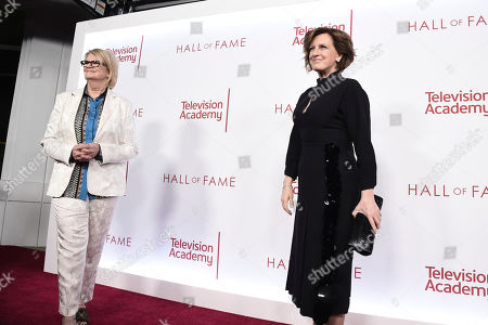 Geraldine B. Laybourne, Anne Sweeney. Geraldine B. Laybourne, left, and Anne Sweeney attend the 25th Television Academy Hall of Fame on at the Television Academy's Saban Media Center in North Hollywood, Calif