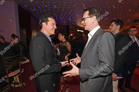Stock Picture of Seth MacFarlane, Peter Rice. Seth MacFarlane, left, and Peter Rice attend the 25th Television Academy Hall of Fame on at the Television Academy's Saban Media Center in North Hollywood, Calif