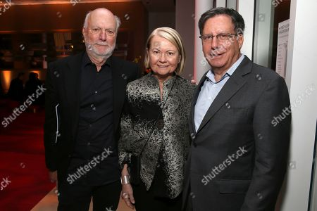 Stock Photo of James Burrows, Marcy Carsey, Tom Werner. James Burrows, from left, Marcy Carsey and Tom Werner attend the 25th Television Academy Hall of Fame on at the Television Academy's Saban Media Center in North Hollywood, Calif