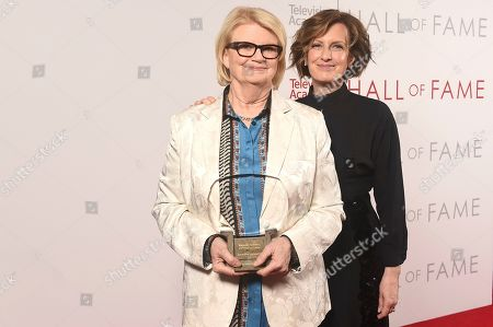 Geraldine B. Laybourne, Anne Sweeney. Anne Sweeney, right, and inductee Geraldine B. Laybourne pose for a portrait at 25th Television Academy Hall of Fame at the Saban Media Center on at the Television Academy's Saban Media Center in North Hollywood, Calif