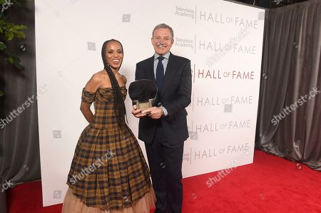 Kerry Washington, Robert Iger. Kerry Washington, left, and inductee Robert Iger, Chief Executive Officer of Disney, pose for a portrait at 25th Television Academy Hall of Fame at the Saban Media Center on at the Television Academy's Saban Media Center in North Hollywood, Calif