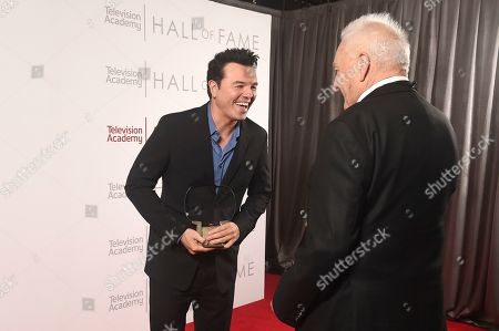 Seth MacFarlane, Don Mischer. Don Mischer, right, and inductee Seth MacFarlane pose for a portrait at 25th Television Academy Hall of Fame at the Saban Media Center on at the Television Academy's Saban Media Center in North Hollywood, Calif