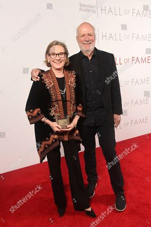 Linda Sandrich, James Burrows. James Burrows, right, and Linda Sandrich, wife of inductee Jay Sandrich, pose for a portrait at 25th Television Academy Hall of Fame at the Saban Media Center on at the Television Academy's Saban Media Center in North Hollywood, Calif