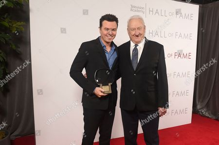 Stock Photo of Seth MacFarlane, Don Mischer. Don Mischer, right, and inductee Seth MacFarlane pose for a portrait at 25th Television Academy Hall of Fame at the Saban Media Center on at the Television Academy's Saban Media Center in North Hollywood, Calif
