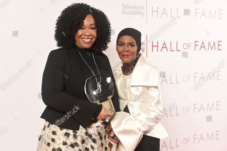 Shonda Rhimes, Cicely Tyson. Shonda Rhimes, left and Inductee Cicely Tyson pose for a portrait at 25th Television Academy Hall of Fame at the Saban Media Center on at the Television Academy's Saban Media Center in North Hollywood, Calif