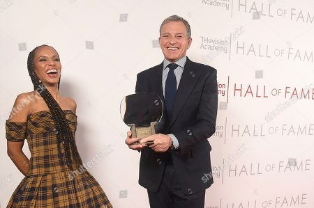 Stock Image of Kerry Washington, Robert Iger. Kerry Washington, left, and inductee Robert Iger, Chief Executive Officer of Disney, pose for a portrait at 25th Television Academy Hall of Fame at the Saban Media Center on at the Television Academy's Saban Media Center in North Hollywood, Calif