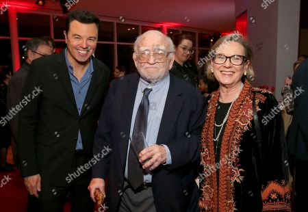 Seth MacFarlane, Ed Asner, Linda Sandrich. Seth MacFarlane, from left, Ed Asner, and Linda Sandrich, wife of inductee Jay Sandrich, attend the 25th Television Academy Hall of Fame on at the Television Academy's Saban Media Center in North Hollywood, Calif