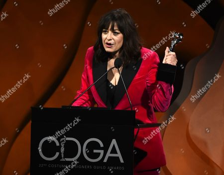 """Jenny Eagan accepts the Excellence in Contemporary Film award for her work in """"Knives Out"""" during the 22nd Annual Costume Designers Guild Awards at the Beverly Hilton, in Beverly Hills, Calif"""