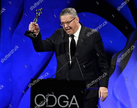 Adam McKay accepts the Distinguished Collaborator Award during the 22nd Annual Costume Designers Guild Awards at the Beverly Hilton, in Beverly Hills, Calif