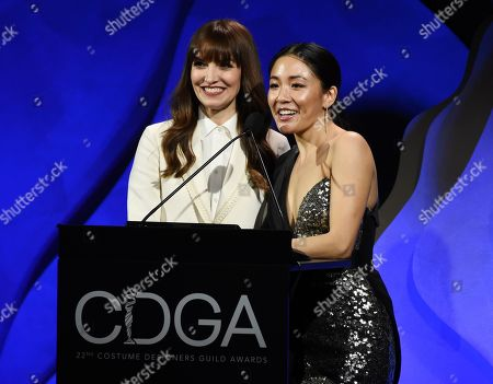 Lorene Scafaria, Constance Wu. Director Lorene Scafaria, left, and actress Constance Wu address the audience during the 22nd Annual Costume Designers Guild Awards at the Beverly Hilton, in Beverly Hills, Calif