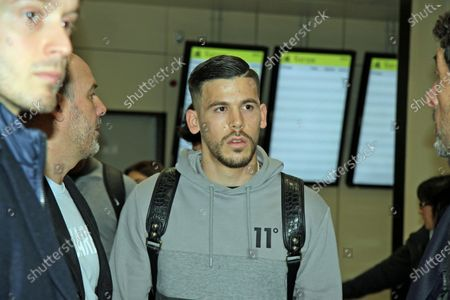 Spanish forward Carlos Perez arrives at Fiumicino Airport in Rome, Italy, 29 January 2020. Perez will sign a contract with AS Roma.