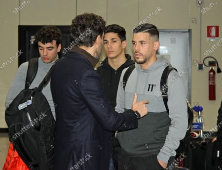 Spanish forward Carlos Perez (R) arrives at Fiumicino Airport in Rome, Italy, 29 January 2020. Perez will sign a contract with AS Roma.
