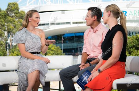 Caroline Wozniacki of Denmark talks to the media following her retirement from tennis at the 2020 Australian Open Grand Slam tennis tournament