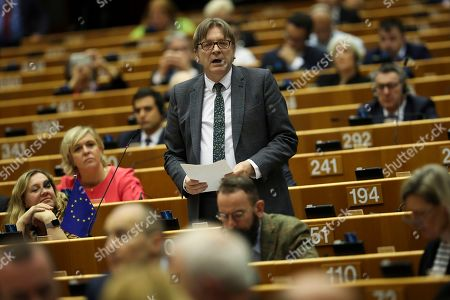 The European Parliament's top Brexit official Guy Verhofstadt addresses European lawmakers during the plenary session at the European Parliament in Brussels, . The U.K. is due to leave the EU on Friday, Jan. 31, 2020, the first nation in the bloc to do so