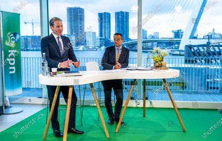 Stock Photo of Dutch telecommunication company KPN's CEO Joost Farwerck (L), and CFO Jan Kees de Jager (R) attend the presentation of KPN's 2019 annual figures, in Rotterdam, the Netherlands, 29 January 2020.