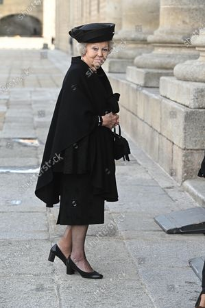 Duth Princess Beatrix arrives to attend the funeral of Spanish princess Pilar de Borbon, Duchess of Badajoz and Spain's Emeritus King Juan Carlos I's sister, at the Real Monasterio de San Lorenzo basilica, in El Escorial, outside Madrid, Spain, 29 January 2020. More than 200 people attend the funeral, held 21 days after the death of the princess at 83.