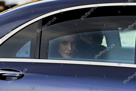 Spain's Queen Letizia waves upon her arrival to attend the funeral of Spanish princess Pilar de Borbon, Duchess of Badajoz and Spain's Emeritus King Juan Carlos I's sister, at the Real Monasterio de San Lorenzo basilica, in El Escorial, outside Madrid, Spain, 29 January 2020. More than 200 people attend the funeral, held 21 days after the death of the princess at 83.