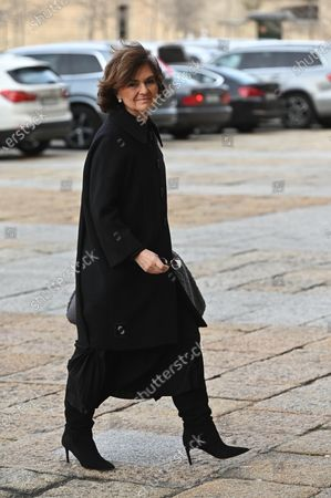 Spanish First Deputy Prime Minister, Carmen Calvo, arrives to attend the funeral of Spanish princess Pilar de Borbon, Duchess of Badajoz and Spain's Emeritus King Juan Carlos I's sister, at the Real Monasterio de San Lorenzo basilica, in El Escorial, outside Madrid, Spain, 29 January 2020. More than 200 people attend the funeral, held 21 days after the death of the princess at 83.
