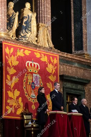 Spain's King Felipe VI (R) and Queen Letizia attend the funeral of Spanish princess Pilar de Borbon, Duchess of Badajoz and Monarch' aunt, at the Real Monasterio de San Lorenzo basilica, in El Escorial, outside Madrid, Spain, 29 January 2020. More than 200 people attended the funeral, held 21 days after the death of the princess at 83.