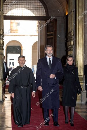 Spain's King Felipe VI (C) and Queen Letizia (R) arrive to attend the funeral of Spanish princess Pilar de Borbon, Duchess of Badajoz and the Monarch's aunt, at the Real Monasterio de San Lorenzo basilica, in El Escorial, outside Madrid, Spain, 29 January 2020. More than 200 people attend the funeral, held 21 days after the death of the princess at 83.