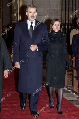 Spain's King Felipe VI and Queen Letizia arrive to attend the funeral of Spanish princess Pilar de Borbon, Duchess of Badajoz and the Monarch's aunt, at the Real Monasterio de San Lorenzo basilica, in El Escorial, outside Madrid, Spain, 29 January 2020. More than 200 people attend the funeral, held 21 days after the death of the princess at 83.